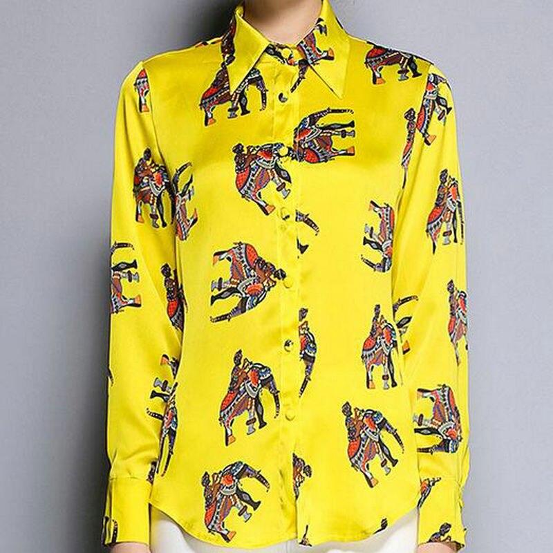 Nuevo  de Las Mujeres Camisa Superior Blusas Camisa de Las Señoras de Seda de Al