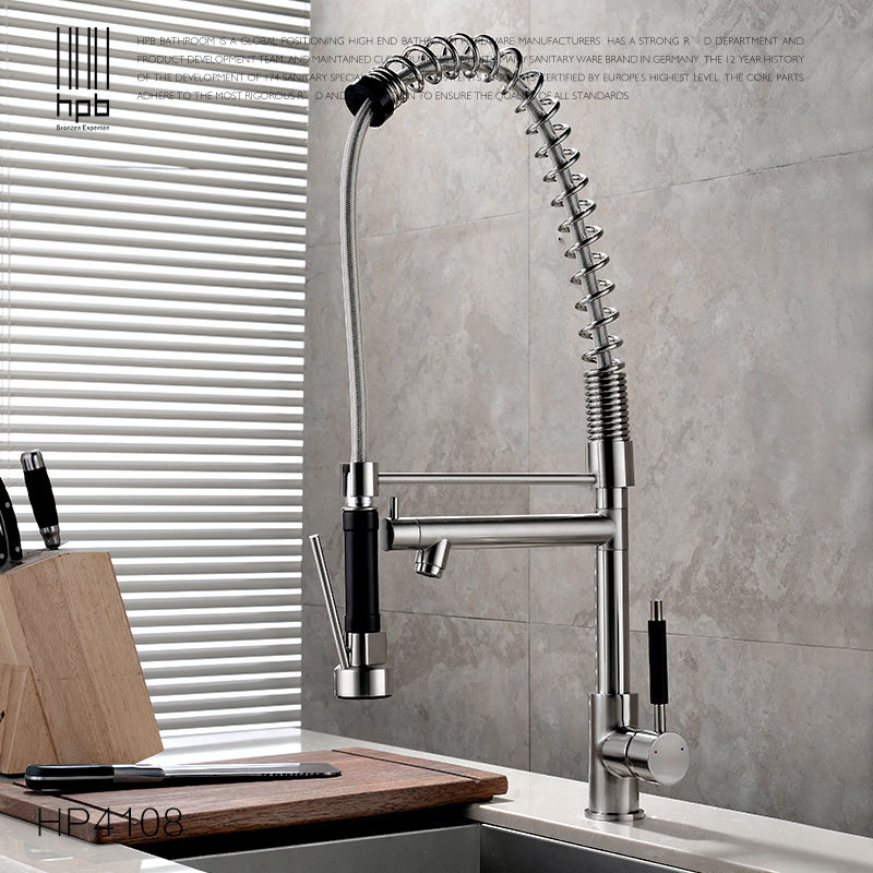 HPB Solid Brass One Hole Deck Mount Kitchen Faucets with Pull Down sprayer Sink Mixer Tap Hot And Cold Water HP4108