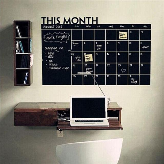 Ежемесячный доске Chalk Board доска Съемный Стикер Стены Месячный План Календарь Памятка DIY 60 см х 92 см