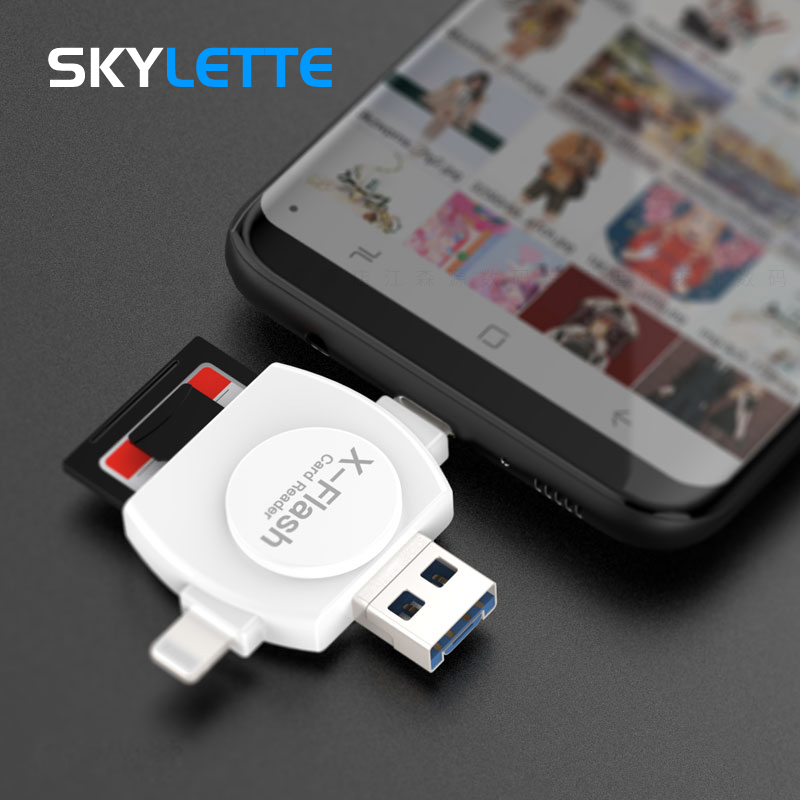 OTG SD TF Card Reader for iPad iPhone X 6 7 8 Plus Android Type C Samsung S7 S8