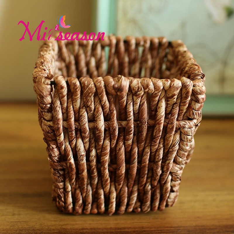 Rattan Corn Velvet Hand-woven <font><b>Flower</b></font> Vase Artificial <font><b>Flowers</b></font> Arrangement Containers Pastoral Pot For Home Bedroom Hotel Decor