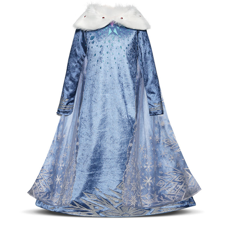 Long Cape Snow Dresses for Kids Girl Princess Christmas Cosplay Costume Carnival Formal Party Dress Plush High quality clothing pipedream shock therapy finger fun насадки на пальцы для электростимуляции