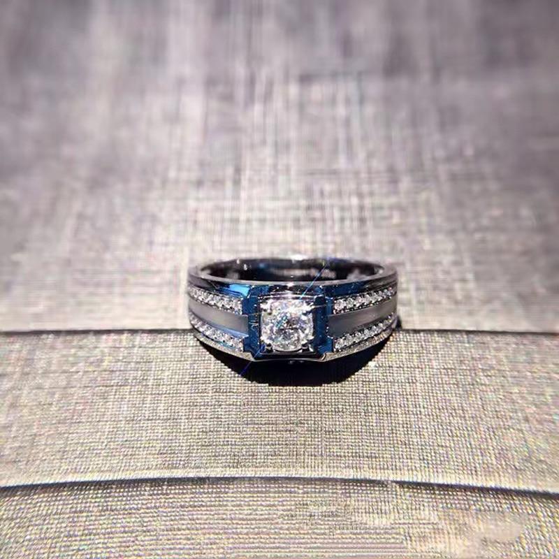 ANI 18K White Gold (AU750) Men Ring Certified H/SI 0.403 Carat Round Cut Natural Diamond Engagement Wedding Jewelry Customized цена 2017