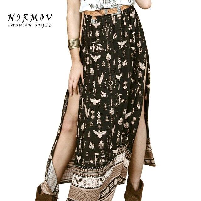 bf354fac8ea8 NORMOV M XL Split Bohemian Long Skirt Vintage Black Printing Elegant Casual  Loose Beach Summer