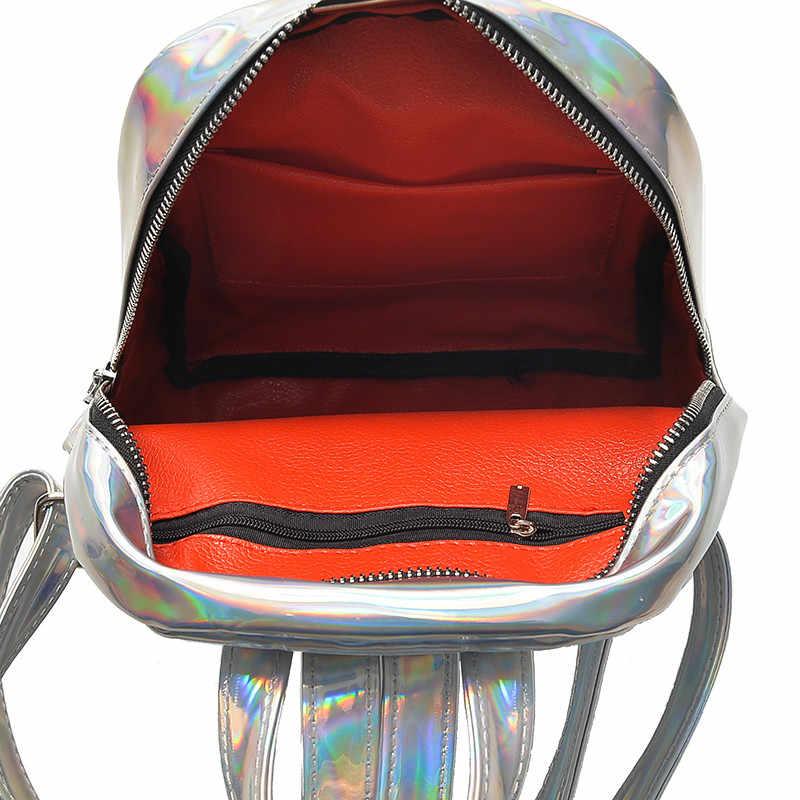 Bolsa de ombro feminina mochila de couro a laser saco de escola mochila mochila de viagem