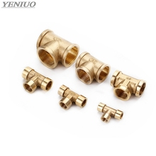 Tee Type Brass Pipe Fitting Adapter Coupler Connector For Water Fuel Gas 1/8 1/4 3/8 1/2 3/4 1BSP Female Thread 3 Way