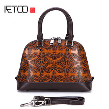 AETOO New retro shells large capacity summer handbag embossed color leather casual handbags