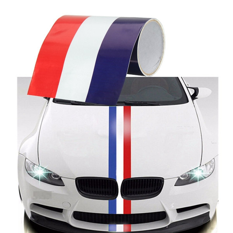 100*15CM <font><b>Car</b></font> Styling Hood Vinyl Sticker Body <font><b>Striped</b></font> Decal National Flag for <font><b>BMW</b></font> Volkswagen Porsche Vespa Mazda Skoda Renault MG image