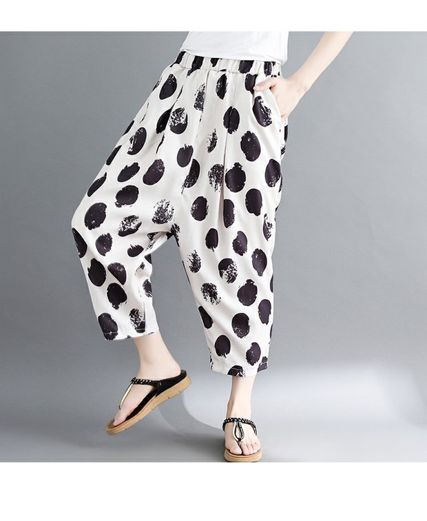 women white and black dot harem pants 2018 summer new loose fashion high-waist button fly female trousers pant 7