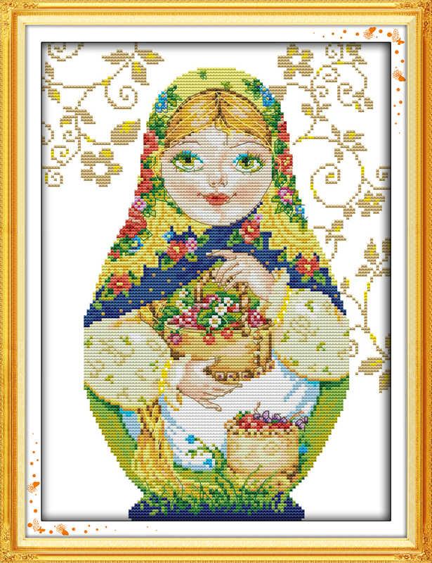 ロシア人形クロスステッチキット漫画 14ct 11ctカウントプリントキャンバスステッチ刺繍diyハンドメイド刺繍