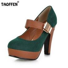 Taoffen/Для женщин Туфли на высокой шпильке на платформе с пряжкой женские качественные escarpin каблуке Насосы Каблучки Обувь P2583 Размеры 34–43