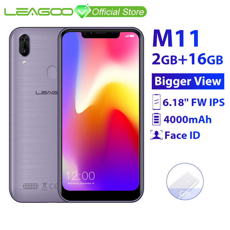 LEAGOO M11 2GB 16GB Mobile Phone Android 8.1 6.18'' MTK6739 Quad Core 4000mAh 8MP Dual Camera Fingerprint Face ID 4G Smartphone
