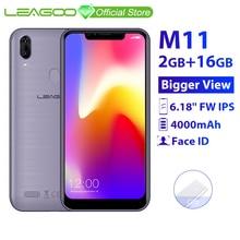LEAGOO M11 2GB 16GB Mobile Phone Android 8.1 6.18 MTK6739 Quad Core 4000mAh 8MP dual camera Fingerprint Face ID 4G Smartphone