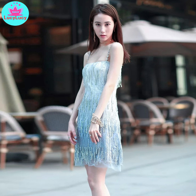 2019 summer new temperament ladies tassel gradient crystal embellished mesh gauze dress Knee Length V Neck in Dresses from Women 39 s Clothing