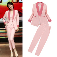 Fall 2019 New Star with A Pink Patchwork Suit Slim Women Jackets and Coats Button Notched Double Breasted