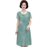 Short sleeve Chiffon Dress Women High Quality Middle Age Mother 2018 Summer Dress Loose Casual plus Size O Neck Dress 4XL