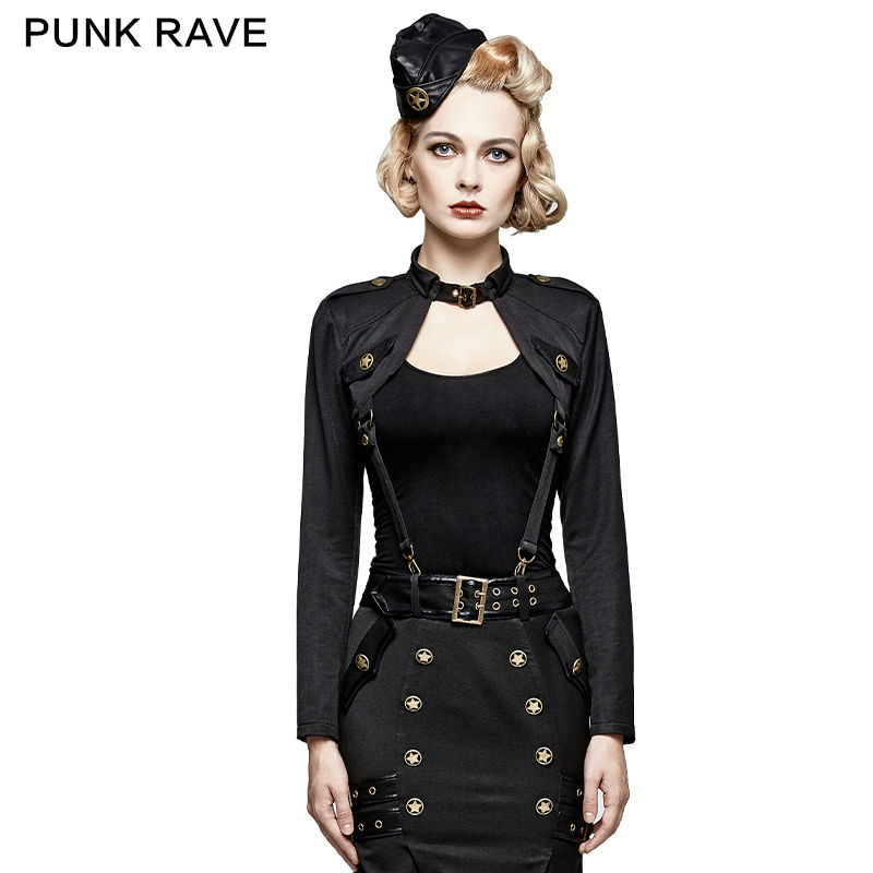 New Punk rave Fashion Casual Party Personality Brand quality Military Uniform short little Jacket XS-XXL T456