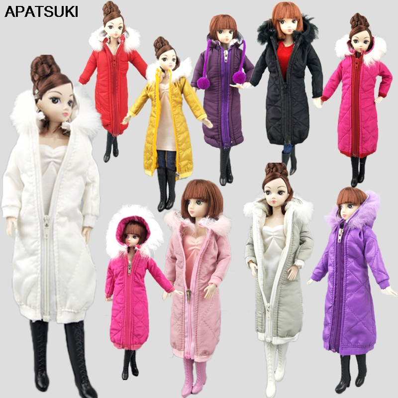 Pretty Long Coat Cotton Dress For Barbie Doll Clothes Parka For  1/6 BJD Doll Kids Toy Winter Wear Jacket Dolls Accessories