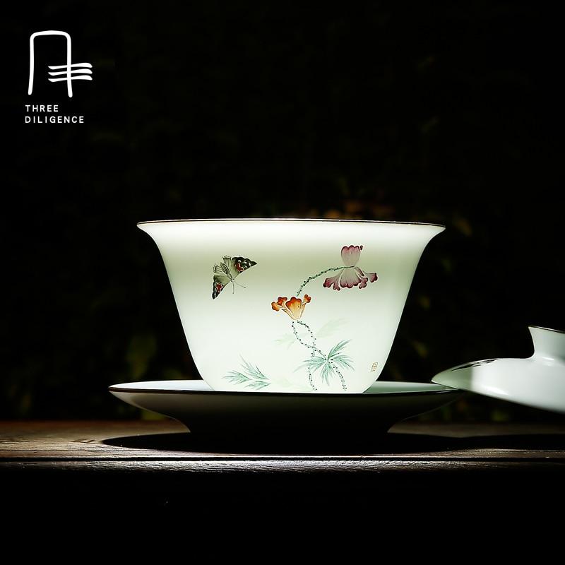 Jingdezhen Ceramic Gaiwan Chinese Tea Cup And Saucer Set