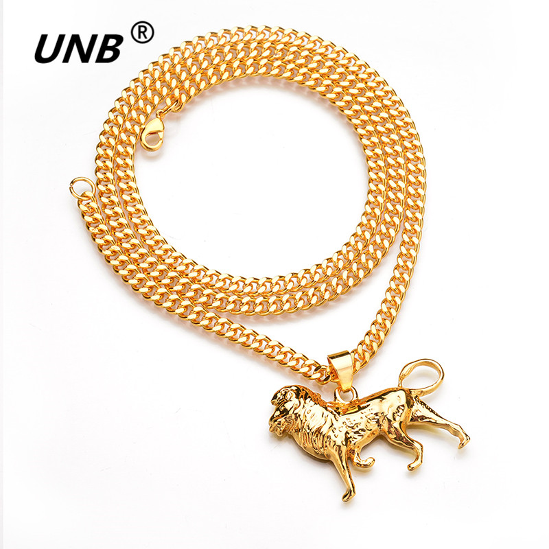 Unb gold lion necklace for womenmengoldsilver color lions head unb gold lion necklace for womenmengoldsilver color lions head pendant animal jewelryafrica lion ethiopian best gifts db3030 in pendant necklaces from aloadofball Choice Image