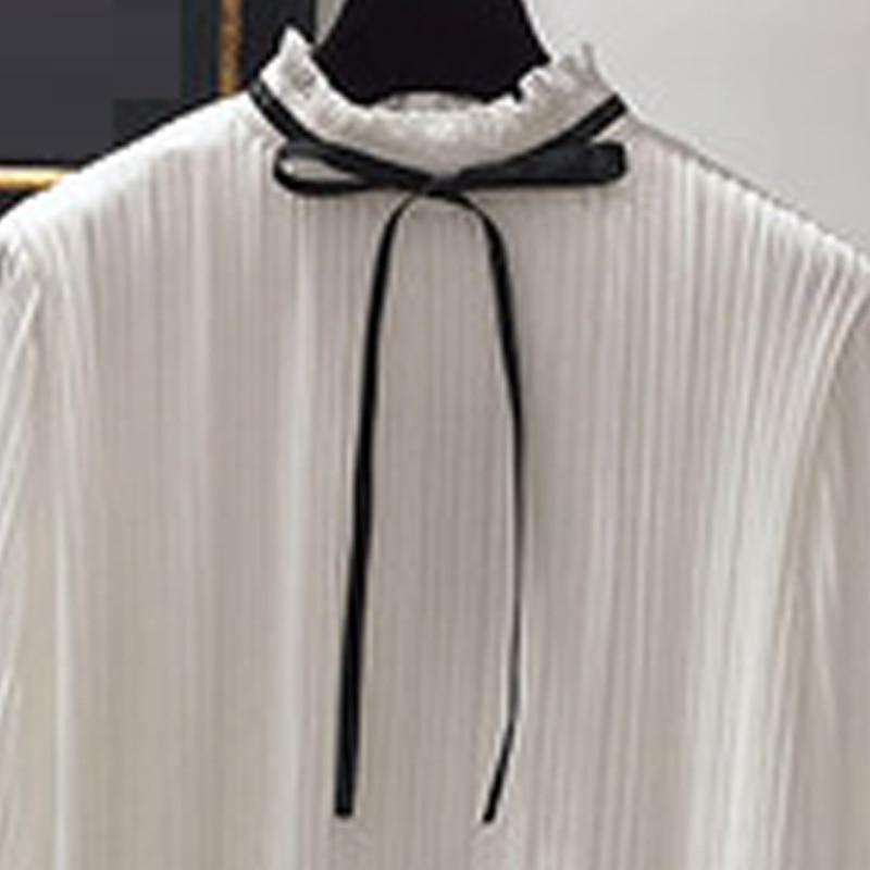 Robe Demi longueur Ok001 Femmes Soie De Mi Col Black Color Mode Lâche En Mousseline Feuille Rembourré 2018 Plissée longueur white Lotus Nouvelle beige wq6xpSxO8