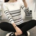 Autumn and Winter basic Women Sweater slit neckline Strapless Sweater thickening sweater top thread slim  stripe sweater