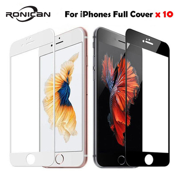 10Pcs Full Cover Tempered Glass For iPhone 7 8 Plus X XR XS 11 Pro Max Screen Protector Film For iPhone 6 6S Plus 5 5s 5C SE