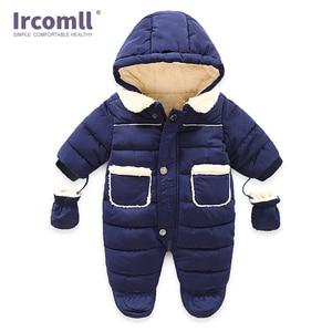 Image 3 - Ircomll Winter Infant Baby Girl Boy Romper Autumn Jumpsuit Hooded Inside Fleece Toddle Winter Autumn Overalls Children Outerwear