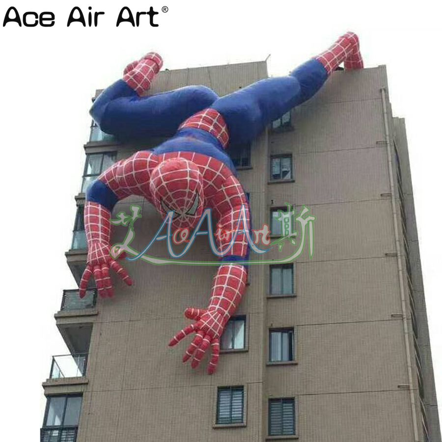 Giant 6m H Cool Inflatable Movie Cartoon Character Model,inflatable Climbing Wall Spider Man For Advertising