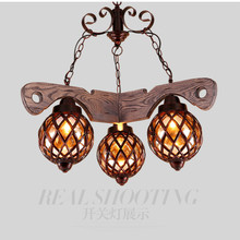 Vintage Loft Personality American Country Wood Iron Glass Led E27*1/2/3/5 Head Pendant Light For Bar Restaurant Living Room 1821