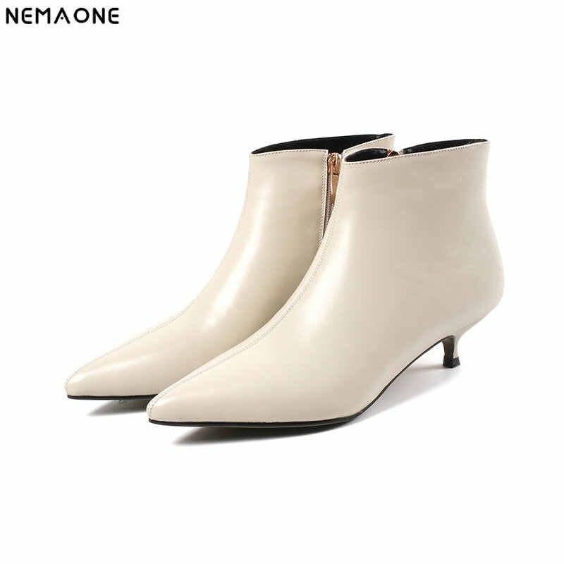 NEMAONE ใหม่ของแท้หนัง 4 เซนติเมตรรองเท้าส้นสูงข้อเท้ารองเท้าผู้หญิง led รองเท้าปาร์ตี้งานแต่งงานรองเท้าผู้หญิงผู้หญิงสีดำ beige ขนาด 43