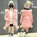 Niñas chaquetas de invierno chaqueta engrosamiento abajo de la capa muchacha de los niños embroma la ropa abrigos parka coreana de 4 ~ 14 años de la moda de cumpleaños MC50