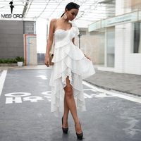 Missord 2018 Sexy One Shoulder Lace Dresses Female ruffle Backless Maxi Elegant Party Dress Vestdios FT18477
