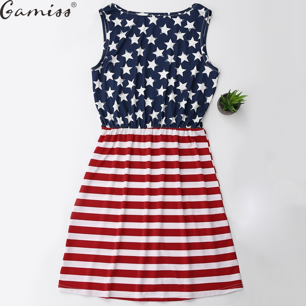 1efdd011ae30 Gamiss New American National Flag Dress Fourth of July the 4th Mura ...