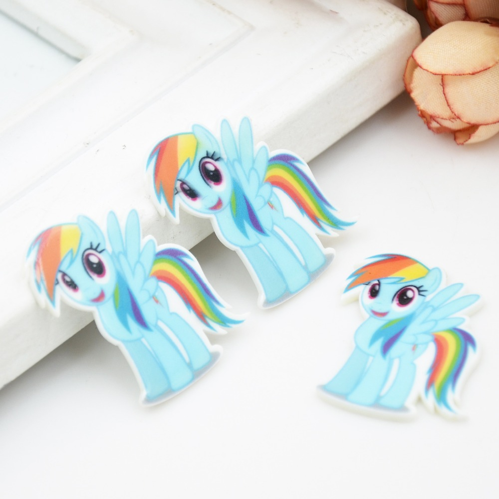 Kawaii Kartun Datar Kembali Resin Planar Little Pony Rainbow Dash Qampampq Analog Jam Tangan Wanita Hitam Strap Karet Vq04j010y Patung Dekorasi Rumah Kerajinan Diy Aksesoris Rambut Busur Sxyr