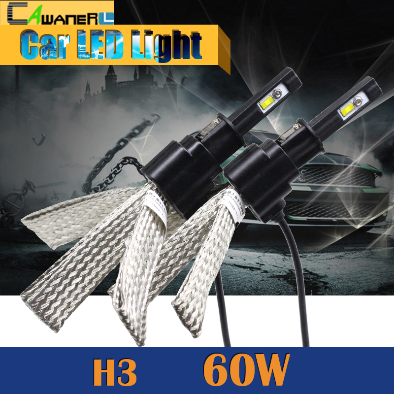 Cawanerl 60W H3 LED Bulb 6400LM 6500K Cool White Car Replacement Headlight Fog Light Daytime Running Lamp DRL 1 Pair cawanerl 1 pair 100w h3 car led bulb 20 smd 2200lm white 6000k automotive fog light daytime running lamp headlight low beam drl