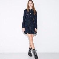 Blouse Dress Women Vintage Fashion Blue Single Breasted Double Pockets Long Sleeve Denim Mini Shirt Dress