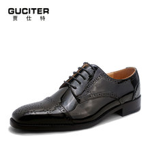 Goodyear bespoke shoe men's patent leather coat of paint high-end custom block carve patterns men shoes leather business suits