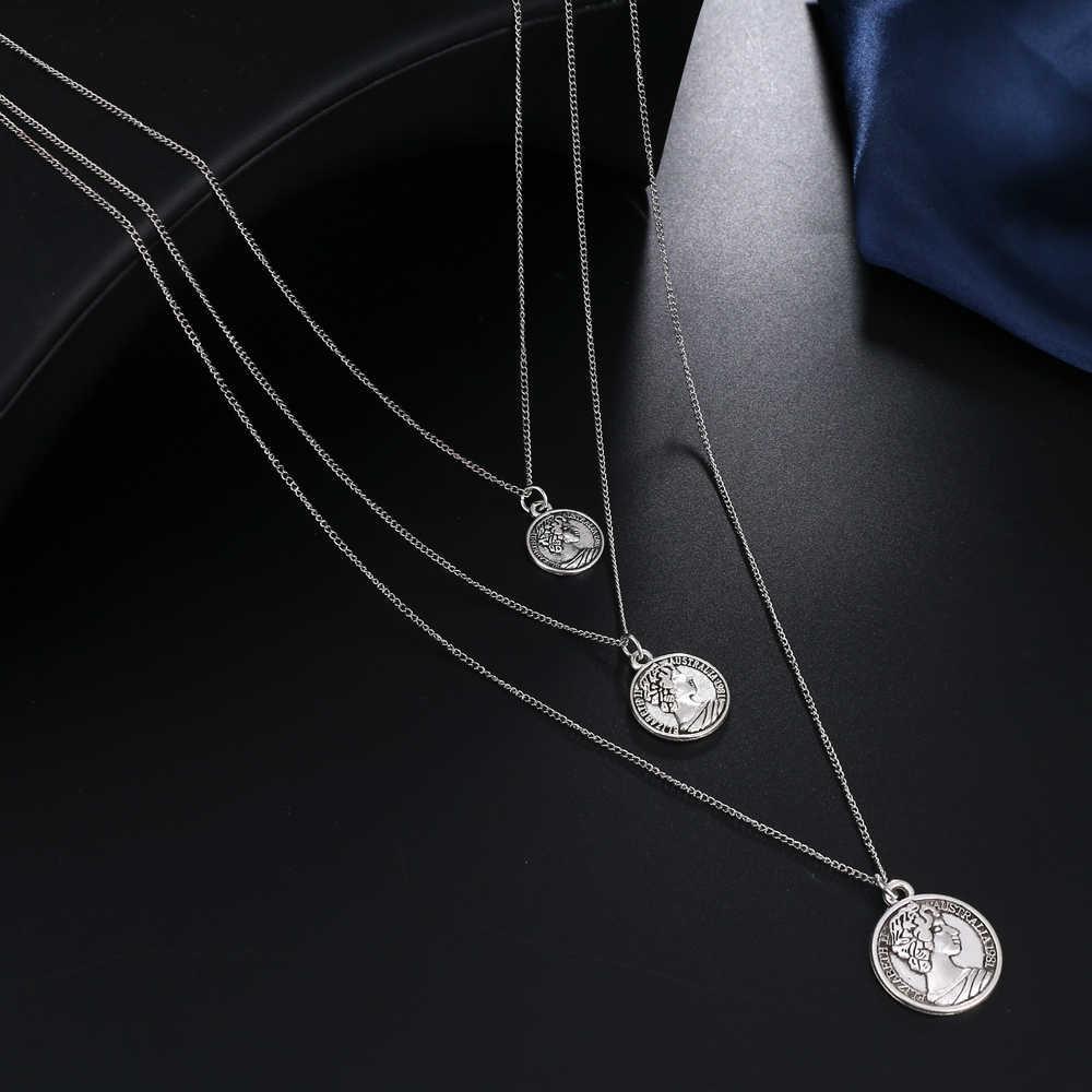 FNIO Vintage grawerowanie monety naszyjnik kobieta moda złoty medal naszyjnik wielowarstwowy wisiorek długi naszyjnik czeski biżuteria