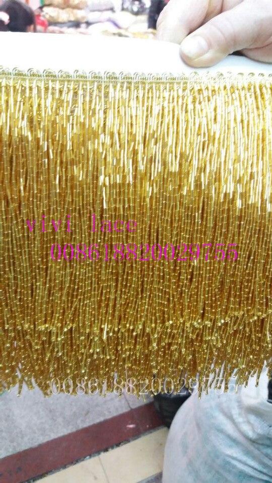 5 yards/sac l192 # or perles gland frange 15 cm largeur pour décoration robe/designer de mode, toutes les couleurs ont