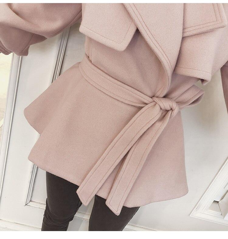 Manches Ceinture Manteau Dames Pink Laine ever Yd Veste Lâche Mode Doux Mélange De Coréenne Court Pleine Solide Chaud Femmes ZRv1wnqB
