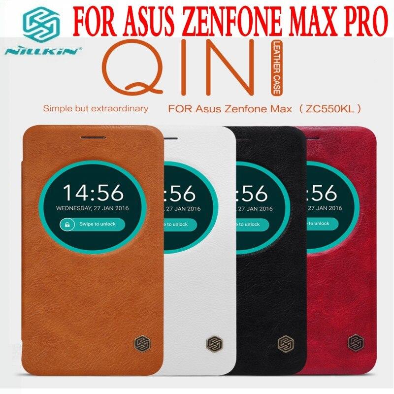 imágenes para PARA Asus Zenfone Max ZC550KL Qin Marca la caja de cuero de nillkin caso del tirón para zenfone aus max nueva llegada caso de cuero