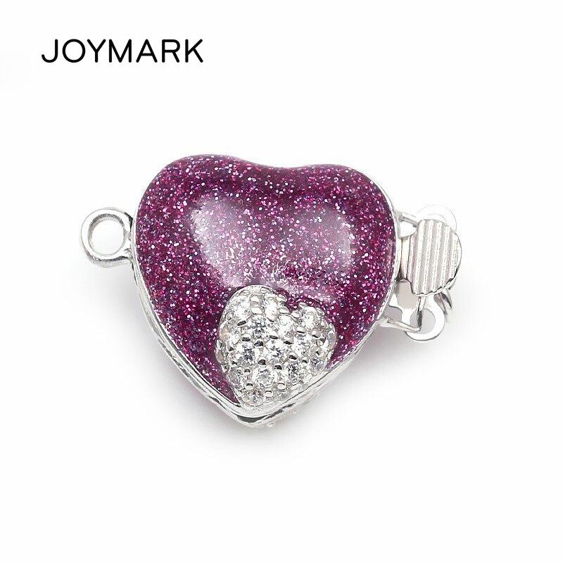 Forme de coeur émaillé violet Micro Pave Zircon boîte en argent Sterling fermoirs crochets résultats de bijoux pour collier de perles SC-BC221