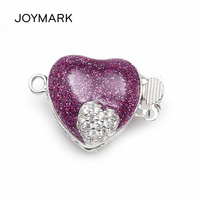 Purple Enameled Heart Shape Micro Pave Zircon Sterling Silver Box Clasps Hooks Jewelry Findings For Pearl Necklace SC BC221