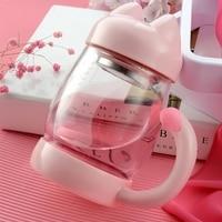 Hot Sale Criativo Gato-em forma de Vidro Transparente Resistente Ao Calor Copo de Chá de Leite Caneca de Café Copos de Escritório Em Casa com Alça para As Mulheres