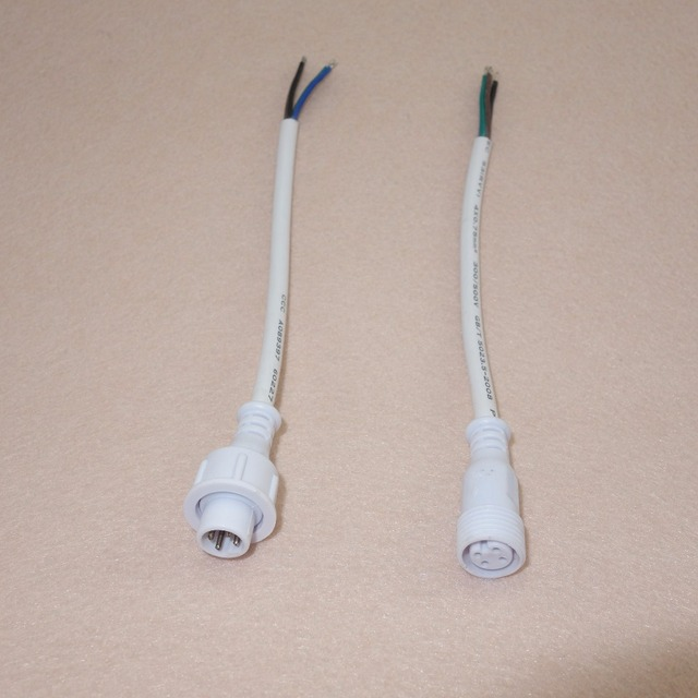10 pairs 4 Core White Waterproof cable,45cm long each;male and female;18AWG wire