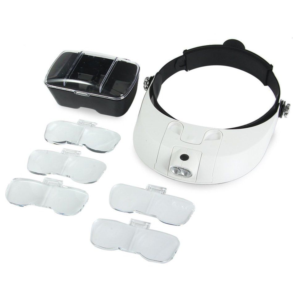 Adjustable Headband 5Lens Binoculars Magnifier 2LED Jewelry Repair Reading Magnifying Glass Third Hand Loupe Optical Lens 10x 45mm measurement eye glasses loupe jewelry reading hand optical pocket zoom magnifying glass fresnel lens magnifier