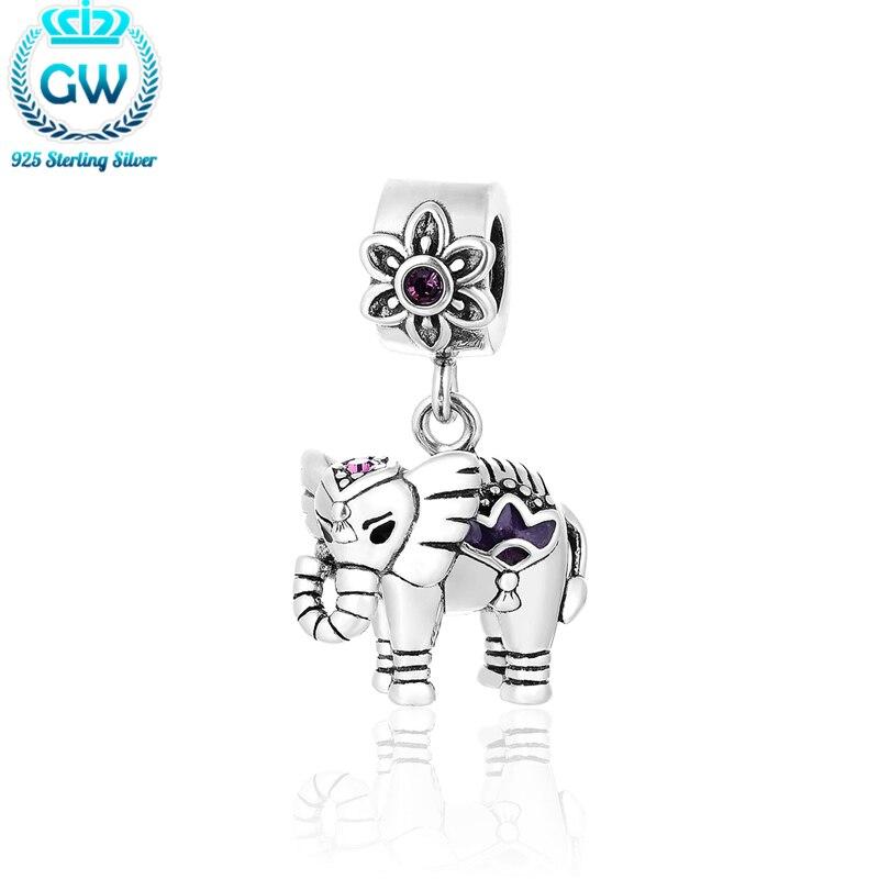 Cute Dangle Animal Charm For Bracelet Elephant Necklace Pendant 925 Sterling-Silver-Jewelry Diy jewelry Christmas Gift yoursfs cute elephant animal studs серьги для девочек модные аксессуары для красоты