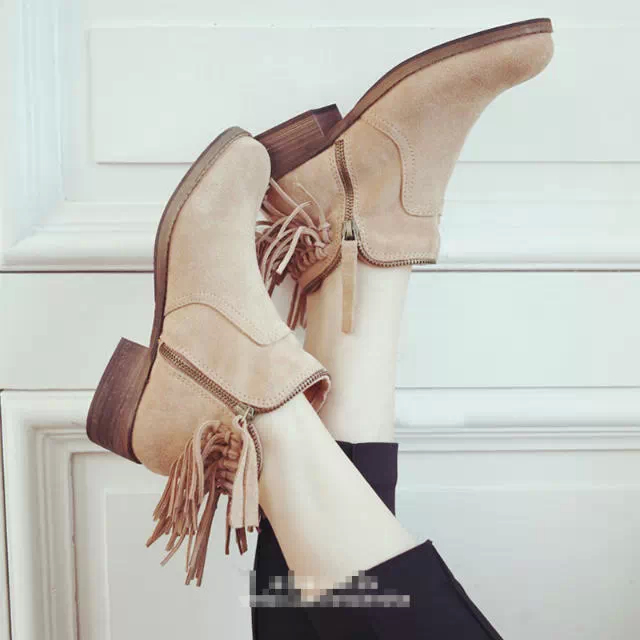 9f0e9b47c829a New Fashion Women s Petty Black Suede Leather Block Heel Ankle Low Booties  Boots Shoes Double Side zip-in Ankle Boots from Shoes on Aliexpress.com