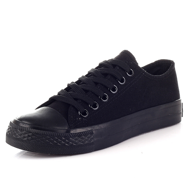 All Black Women Thick Soled Canvas Shoes Woman 2017 New Fashion Loafers Flats Slip On High Top Casual Shoes Zapatos Mujer